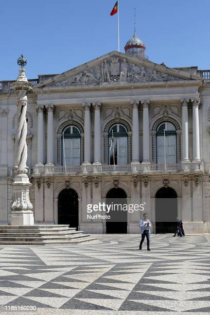 A patterned pavement is pictured in front of the Lisbons City Council at the Municipio square in Lisbon Portugal on September 4 2019 The Portuguese...