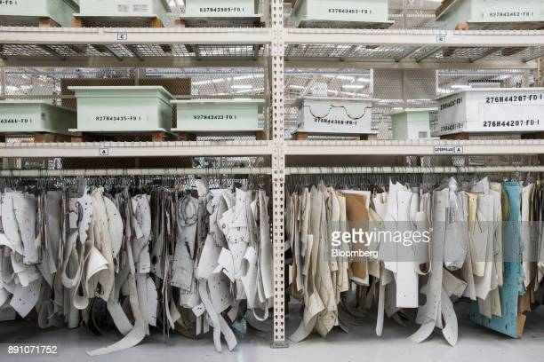 Patterns for sewing aircraft cargo nets hang on display at the Tighitco Inc manufacturing facility in San Luis Potosi Mexico on Thursday Nov 16 2017...