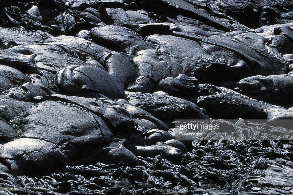 Patterns in Pahoehoe lava, Big Island, Hawaii  : Stock Photo