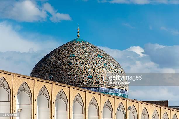 Patterns on the intricate tiled dome of the Sheikh Lotfollah Mosque.