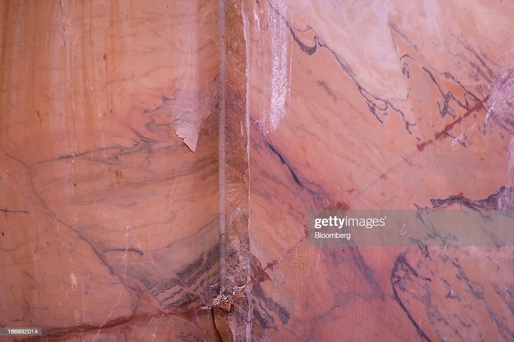 Patterns on the surface of raw marble are seen inside the gallery of a quarry pit operated by Bloco B in Bencatel, Vila Vicosa, Portugal, on Wednesday, April 17, 2013. Portugal is posting its first trade surplus in at least six decades, which may help vindicate a strategy of front-loading austerity to deliver economic reform. Photographer: Mario Proenca/Bloomberg via Getty Images