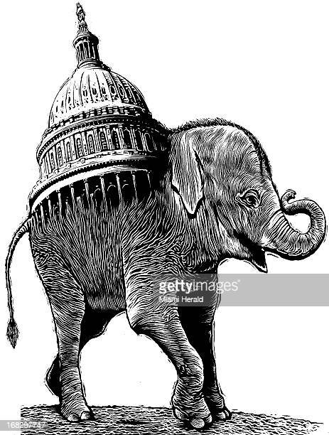Patterson Clark BW scratchboardstyle illustration of GOP elephant with top of Capitol building coming out of its back