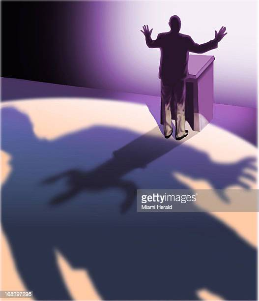 Patterson Clark color illustration of politician in silhouette at podium with ominous shadow in the foreground