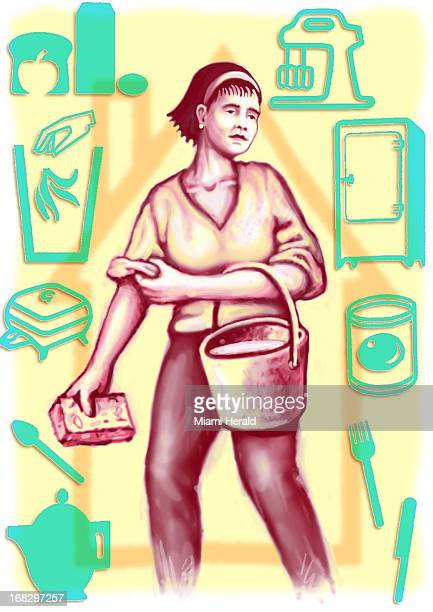 Patterson Clark color illustration of woman holding spone bucket and surrounded by icons of refrigerator mixer etc
