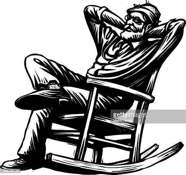 Patterson Clark illustration of elderly man sitting in rocking chair