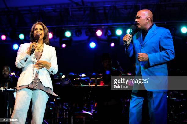 Patti Austin and James Ingram perform at the 2009 Bermuda Music Festival at the Royal Naval Dockyard on October 30 2009 in Sandys Parish Bermuda