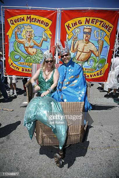 Patti d'Arbanville and Adam Savage during 25th annual Coney Island Astroland Mermaid Parade at Coney Island Boardwalk in Brooklyn New York United...
