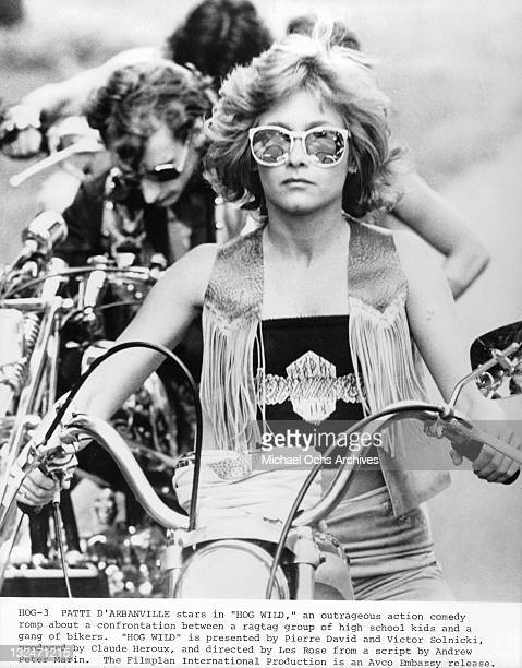 Patti D'Arbanville on HOG leading riders in a scene from the film 'Hog Wild' 1980