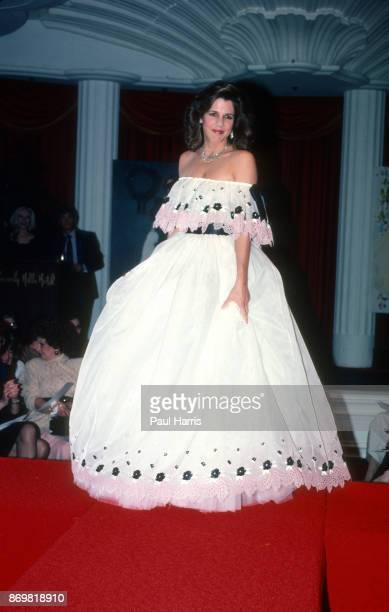 Patti Davis Ronald and Nancy Reagan's daughter poses in a dress designed by David and Elizabeth Emanuel Welsh fashion designers who are best known...