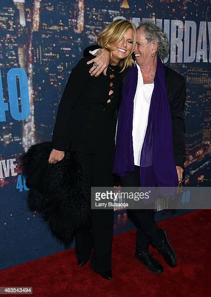 Patti Hansen and Keith Richards attend SNL 40th Anniversary Celebration at Rockefeller Plaza on February 15 2015 in New York City