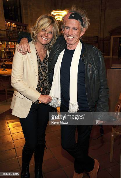 Patti Hansen and Keith Richards backstage before he speaks about his new book Life at The New York Public Library on October 29 2010 in New York City