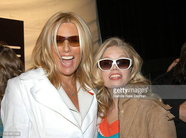 Patti Hansen and Theodora Richards during Olympus Fashion Week Fall 2004 Heart Truth Front Row and Backstage at Studio Noir at Bryant Park in New...