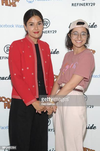 Patti Harrison and Matra Jouhari attend the Beachside x Refinery29 x Facebook Strangers Season 2 Premiere at William Vale Hotel on June 26 2018 in...