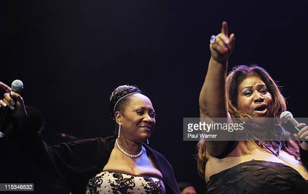 Patti LaBelle and Aretha Franklin during Tom Joyner's Mistletoe Jam Comes to Detroit December 10 2005 at Joe Louis Arena in Detroit MI United States