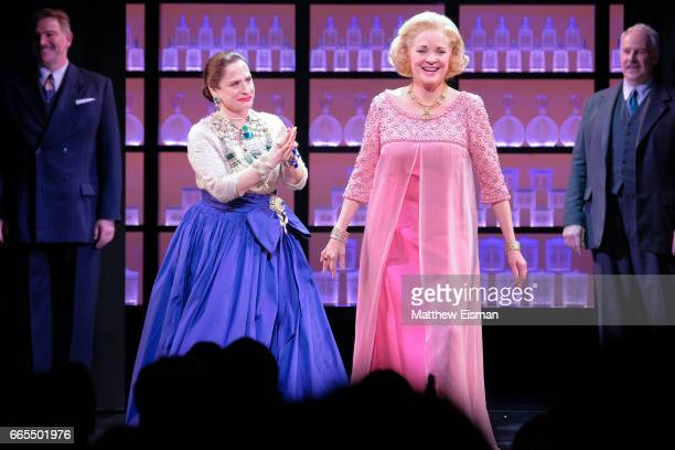 Patti LuPone and Christine Ebersole during the 'War Paint' Broadway opening night curtain call at Nederlander Theatre on April 6 2017 in New York City