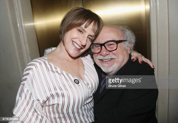 Patti LuPone and Danny DeVito pose at The 71st Annual Tony Awards Meet the Nominees Press Junket at Sofitel Hotel on May 3 2017 in New York City