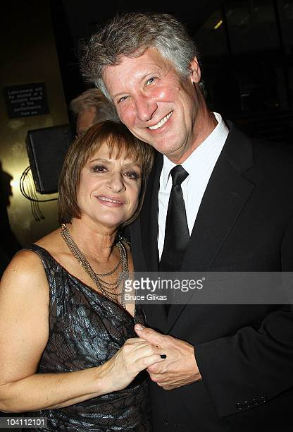 Patti LuPone and husband Matthew Johnston pose at the 'Patti LuPone A Memoir' Book Launch Party at Vivian Beaumont Theatre at Lincoln Center on...