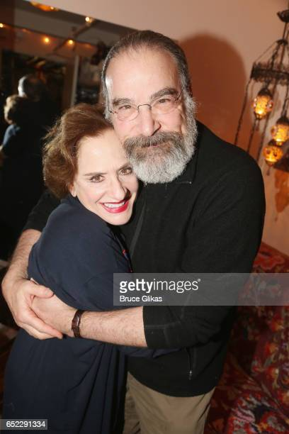 Patti LuPone and Mandy Patinkin costars in the original broadway cast of 'Evita' pose backstage at the new hit musical 'War Paint' on Broadway at The...
