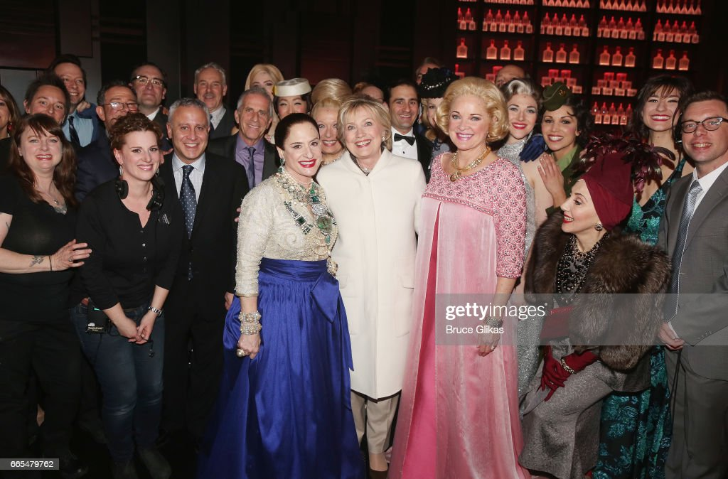 Patti LuPone as 'Helena Rubinstein', Hillary Clinton and Christine Ebersole as 'Elizabeth Arden' pose backstage with the cast and crew after the opening night performance of the new musical 'War Paint' on Broadway at The Nederlander Theatre on April 6, 2017 in New York City.