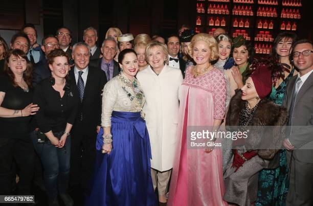 Patti LuPone as 'Helena Rubinstein' Hillary Clinton and Christine Ebersole as 'Elizabeth Arden' pose backstage with the cast and crew after the...