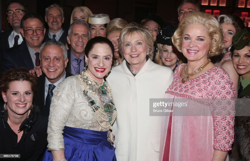 Patti LuPone as 'Helena Rubinstein', Hillary Clinton and Christine Ebersole as 'Elizabeth Arden' pose backstage with the cast after the opening night performance of the new musical 'War Paint' on Broadway at The Nederlander Theatre on April 6, 2017 in New York City.
