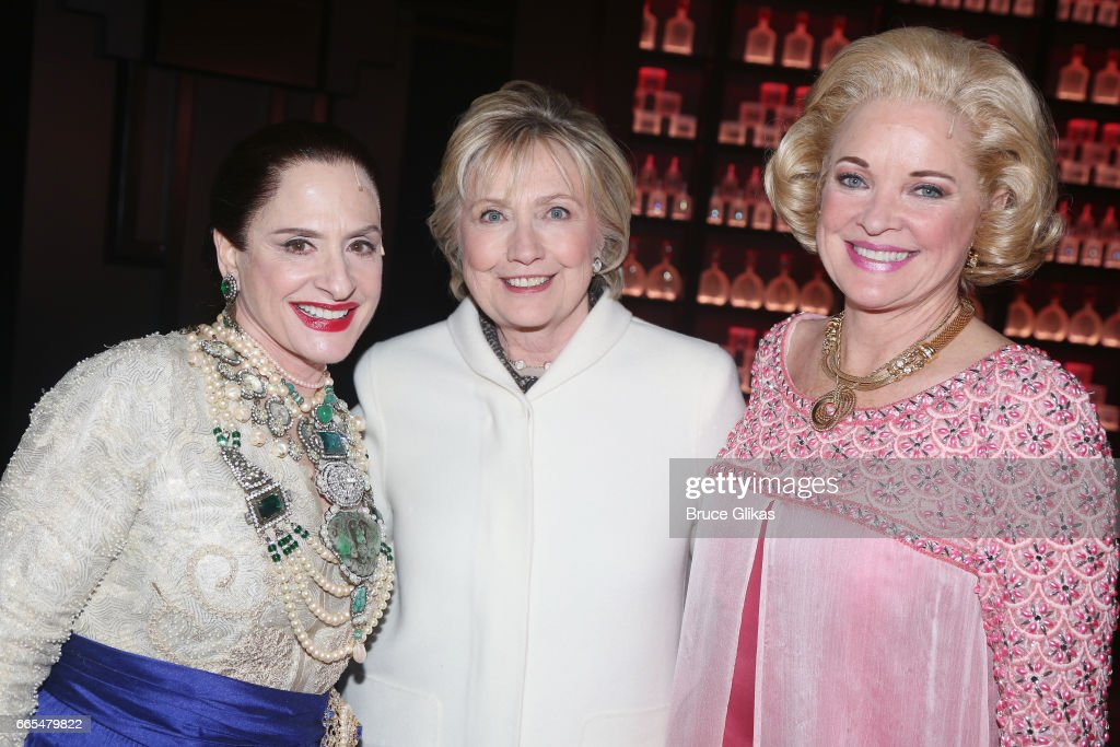 Patti LuPone as 'Helena Rubinstein', Hillary Clinton and Christine Ebersole as 'Elizabeth Arden' pose backstage after the opening night performance of the new musical 'War Paint' on Broadway at The Nederlander Theatre on April 6, 2017 in New York City.