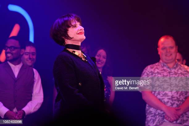 Patti LuPone bows at the curtain call during the press night performance of Company at The Gielgud Theatre on October 17 2018 in London England