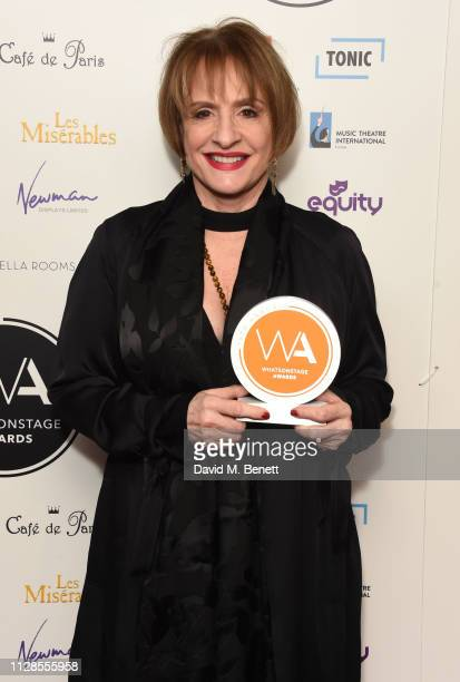 Patti LuPone poses in the Winners Room at The WhatsOnStage Awards 2019 at The Prince of Wales Theatre on March 3 2019 in London England