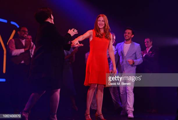 """Patti LuPone, Rosalie Craig and Jonathan Bailey bow at the curtain call during the press night performance of """"Company"""" at The Gielgud Theatre on..."""