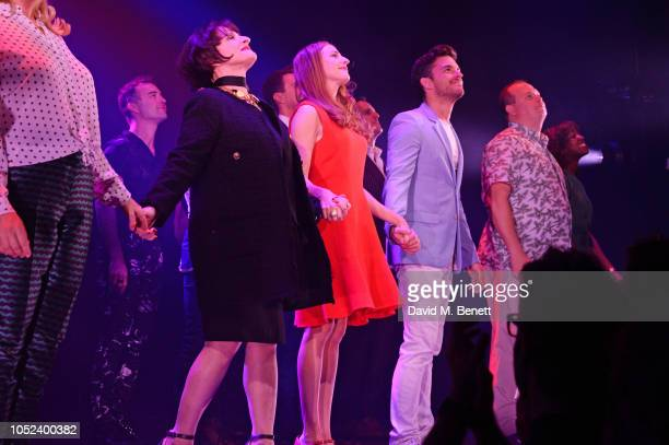 Patti LuPone Rosalie Craig and Jonathan Bailey bow at the curtain call during the press night performance of Company at The Gielgud Theatre on...