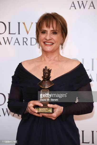 Patti LuPone winner of the Best Actress In A Supporting Role In A Musical award for 'Company' poses in the press room at The Olivier Awards 2019 with...