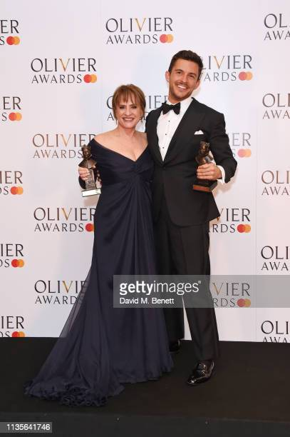 Patti LuPone winner of the Best Actress In A Supporting Role In A Musical award for Company and Jonathan Bailey winner of the Best Actor In A...