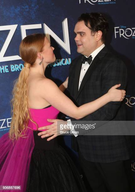 Patti Murin and Greg Hildreth at the opening night after party for Disney's new hit musical Frozen on Broadway at Terminal 5 on March 22 2018 in New...