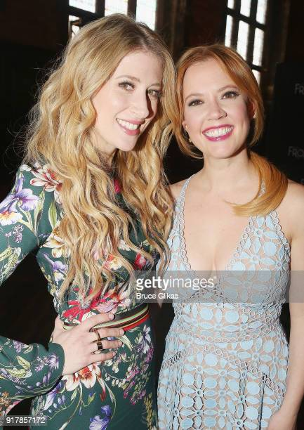 Patti Murin who plays 'Anna' and Caissie Levy pose at Disney's 'Frozen The Broadway Musical' cast photo call panel conversation at The Refectory at...
