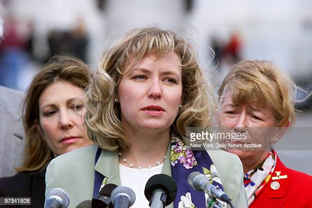 Patti Nielson an art teacher at Columbine High School who was grazed by a bullet during the shooting speaks at a Capitol Hill news conference on gun...