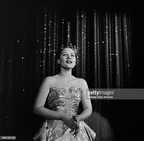 Patti Page sings on the Toast of the Town show hosted by Ed Sullivan at the Maxine Elliott Theater in New York New York