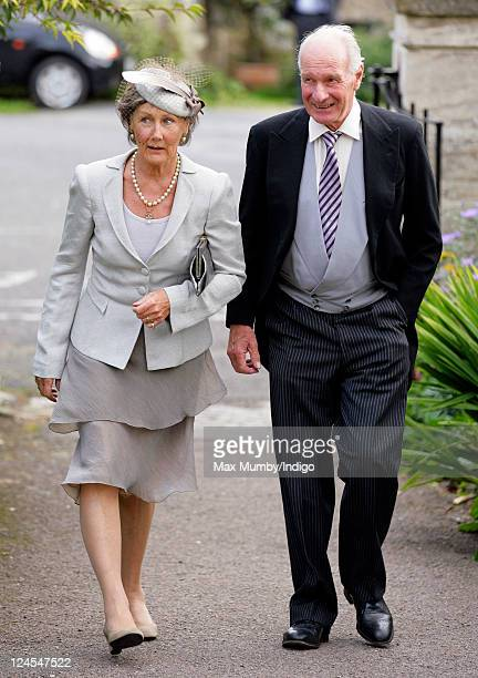 Patti PalmerTomkinson and Charles PalmerTomkinson attend the wedding of Ben Elliot and MaryClare Winwood at the church of St Peter and St Paul...