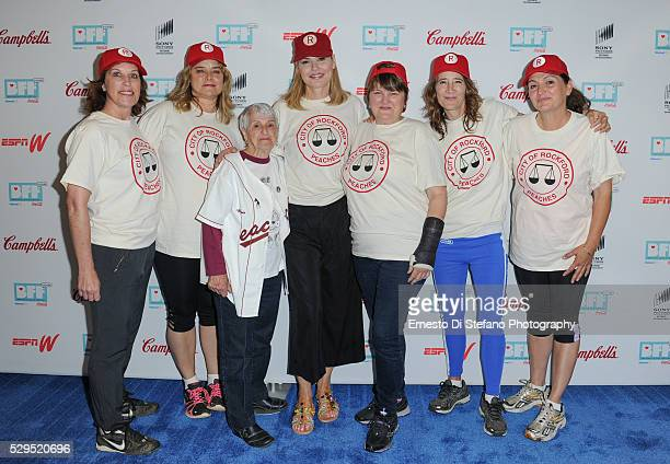 Patti Pelton Freddie Simpson Gina Casey Geena Davis Megan Cavanagh Anne Ramsay and Tracy Reiner Cast from A League Of Their Own attend A League Of...