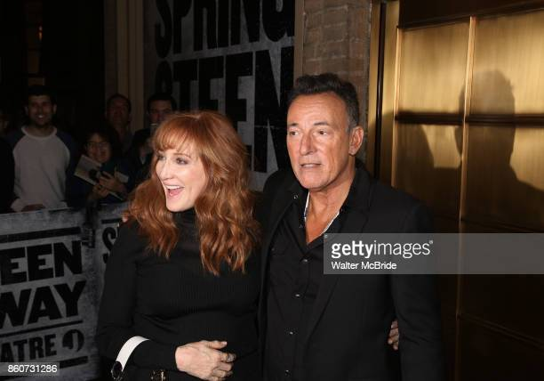 Patti Scialfa and Bruce Springsteen leaving the Walter Kerr Theater after the official opening night performance of 'Springsteen On Broadway' on...