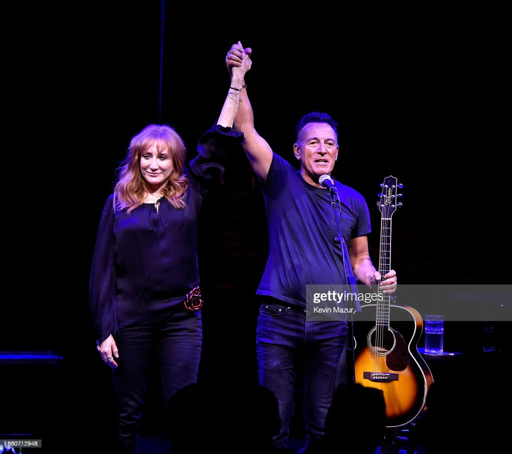 Patti Scialfa and Bruce Springsteen onstage during 'Springsteen On Broadway' at Walter Kerr Theatre on October 12, 2017 in New York City.