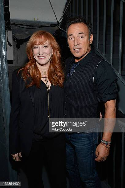 Patti Scialfa and Bruce Springsteen pose backstage at the 6th Annual Stand Up For Heroes at the Beacon Theatre on November 8, 2012 in New York City.