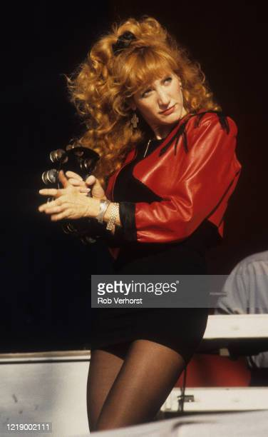 Patti Scialfa performs on stage with Bruce Springsteen and the E Street Band Feyenoord Stadium De Kuip Rotterdam Netherlands 28th June 1988