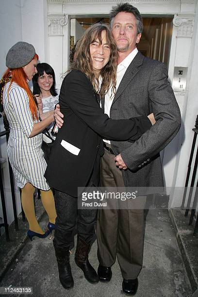Patti Smith and Edward Mapplethorpe during Robert Mapplethorpe Exhibition Private View Outside Arrivals at Alison Jacques Gallery in London Great...