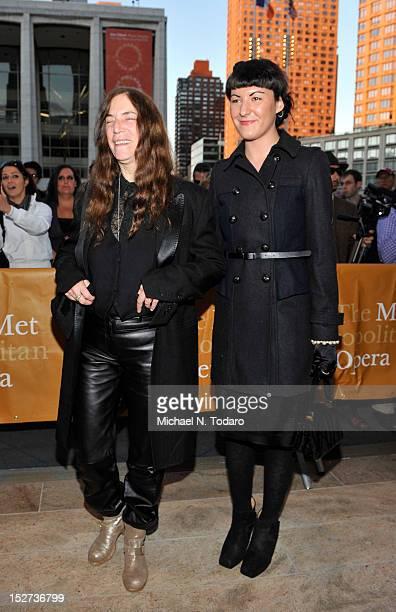 Patti Smith and Jesse Smith attend the 2012 Metropolitan Opera season opening night performance of L'Elisir D'Amore at The Metropolitan Opera House...