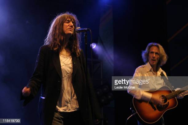 Patti Smith and Lenny Kaye during 2006 Latitude Festival Weekend at Henham Park Estate in Suffolk Suffolk Great Britain