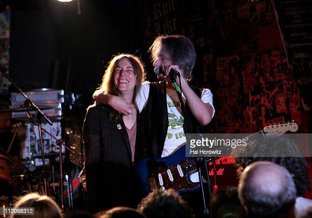 Patti Smith and Lenny Kaye during Patti Smith and Special Guests Play Last Ever Show at Legendary CBGB's at CBGB's in New York City New York United...