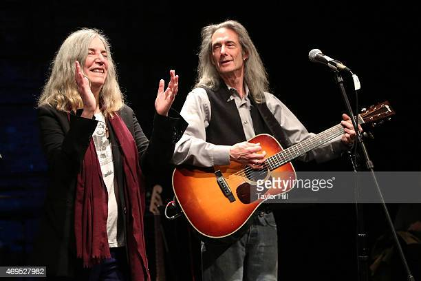 Patti Smith and Lenny Kaye perform for the victims of the 2nd Avenue gas explosion that destroyed two East Village apartment buildings at Theatre 80...