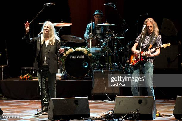 Patti Smith and Lenny Kaye perform on stage during Festival Jardins de Pedralbes at Jardins de Pedralbes on July 7 2016 in Barcelona Spain