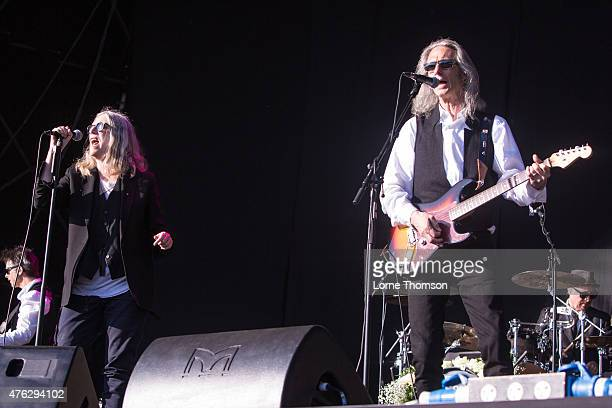 Patti Smith and Lenny Kaye perform on the EYOE Stage on Day 2 of Field Day at Victoria Park on June 7 2015 in London United Kingdom
