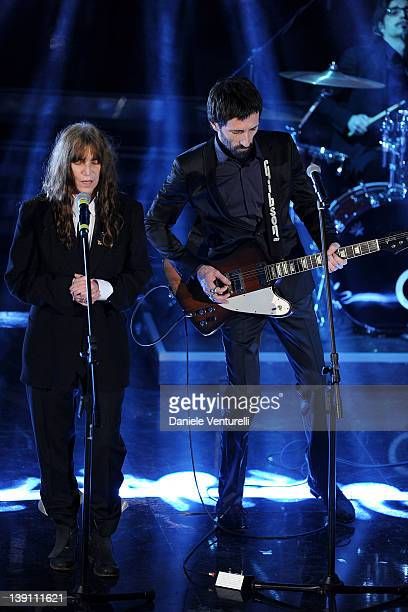 Patti Smith and Marlene Kuntz performs on stage at the third day of the 62th Sanremo Song Festival at the Ariston Theatre on February 16 2012 in...